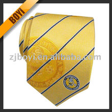 Striped Woven Logo Necktie For Men