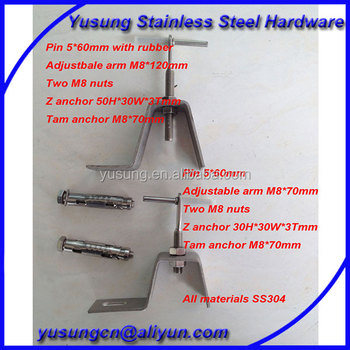Adjustable Z anchor stone cladding fixing