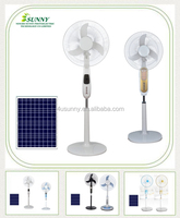 vent goods 12V Ac Dc Ceiling Solar Fans Stand Fan with LED light in 16 Inche soalr floor fans with solar panels