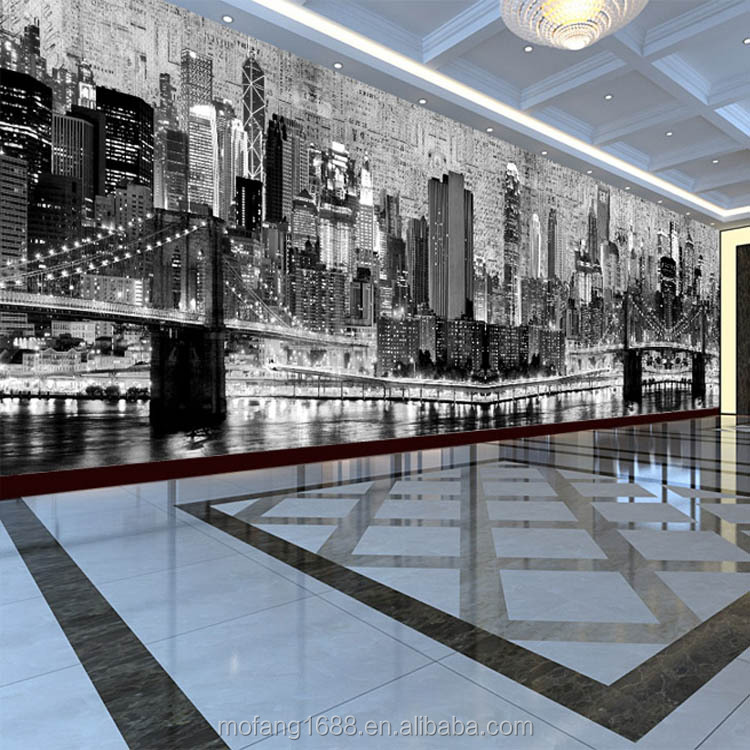 Pantoscopic design for exhibition hall commercial office for Bank ballroom with beautiful mural nyc
