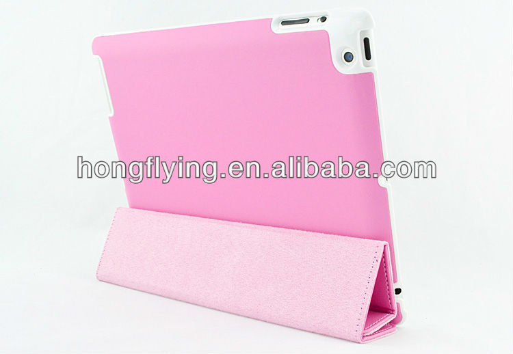 Magnetic slim leather smart cover stand case for ipad 3
