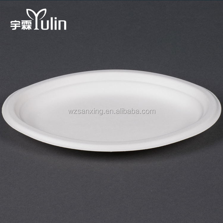 5 Inch Biodegradable Bagasse Raw Materials Salad Paper Plate