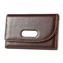 Mini Leather Bag Leather Business Name Card ID Card Holder Cases with Magnet Button