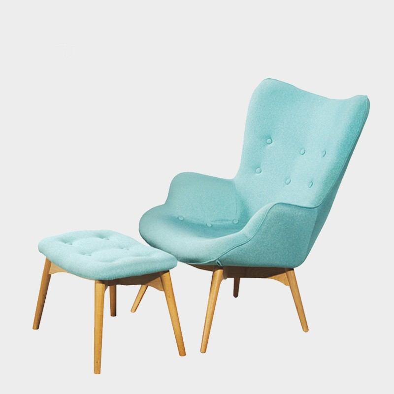 Replica blue fabric Grant Featherston R160 Contour Lounge Chair