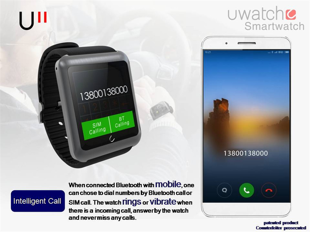 2015 newest U11 smart watch bluetooth Wrist watches MTK2502CC for IOS android phone