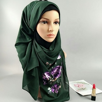 Latest Hijabs New Design Hijab Sexy Muslim Women Printed Chiffon Shawl Head Scarves Ladies Bubble Chiffon Scarf And Shawl