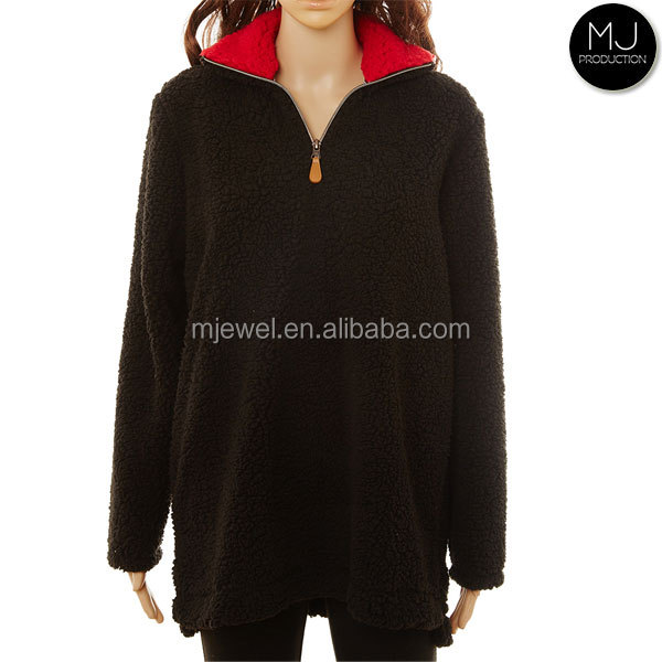 Factory Wholesale Women Sherpa Fleece 1/4 Zip Pullover