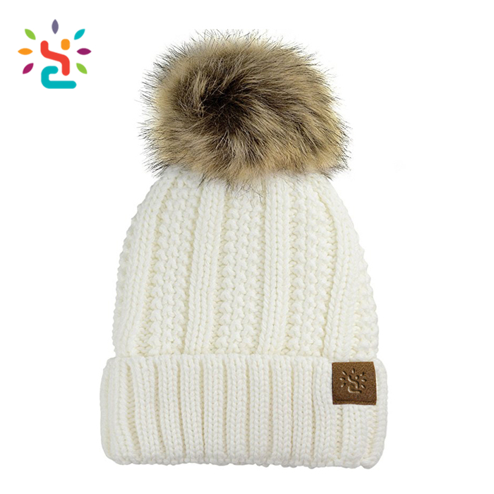 Customize knitted hat adult Subtly Knit Bobble Beanie Hat Jacquard Poms Ribbed pompom Beanie Gorro Invierno