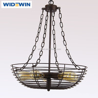 Industrial Vintage Style Black Hanging Pendant Light Fixture Metal Wire Cage Lamp