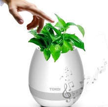 In stock bluetooth speaker function 7 colors led light abs plant music pot