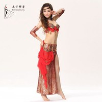 WQ00772 4 piece set leopard belly dance dress sexy belly dancer dress baladi belly dance dress