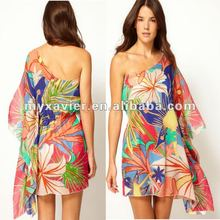 Asymmetric Neckline Beach Floral One Shoulder Kaftan