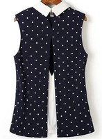 Dongguan Clothing Manufacturer Navy Contrast Collar Polka Dot Split Blouse