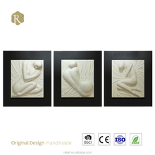3D Handpainting White Nude Girl Wall Painting for Home Wall Art