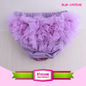 Lavender baby cotton ruffle bloomers sequin underwear soft chiffon bloomer