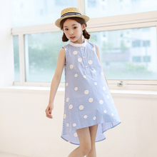High Quality Kids <strong>Girl'S</strong> Blue Sweet Style Polka Dots Sleeveless Children Girl Cotton <strong>Dress</strong> polka dot <strong>dress</strong>