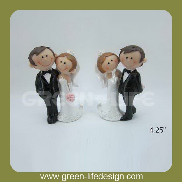 4.25'' groom and bride wedding cake toppers
