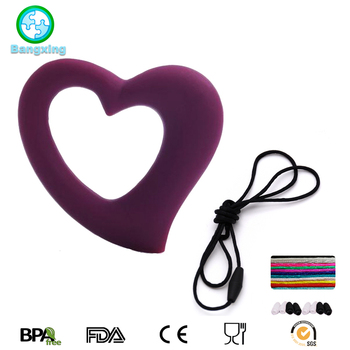 BPA Free Heart Teething Pendant Silicone Baby Teether Toy
