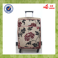 2016 New Flower Material Travle Good Quality Cheap Trolley Luggage Bag With Laptop