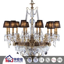 Antique brass metal fabric shade europe style crytal chandelier lighting with blown clear and cutting glass