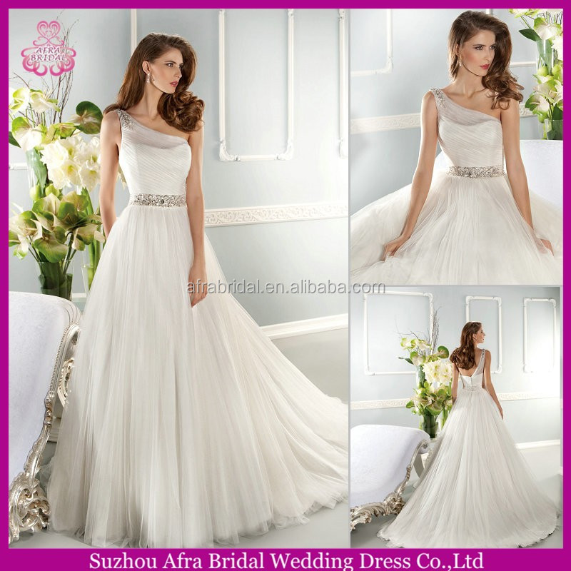 QQ1608 puffy tulle wedding dress cheap country western wedding dresses one shoulder