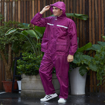 China manufacturer in stock wine red polyester raincoat for adult