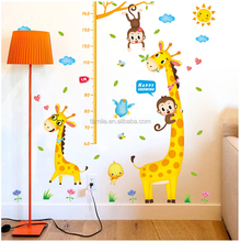 Fashion kids height growth chart wall sticker/Giraffe wall chart for baby learning/height measurement kid wall monkey animals