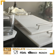 2017 new style rectangular white marble cheese serving tray with metal handles