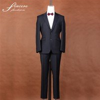 Tailored suits Fashion high quality black stripe Men's suit 100%wool jacket trouser