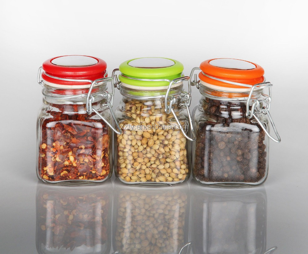 Empty Glass Spice Jars 125ml multi colour option herbs/spice/storage pots