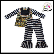 2016 yawoo bibs navy stripe top and pants set low price clothes for children