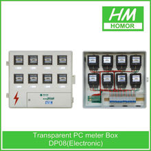Three-phase outdoor electrical meter box housing