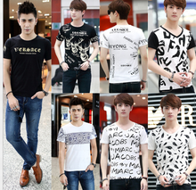 Customized high quality cotton cheap Men's white and black Printing t shirt wholesale