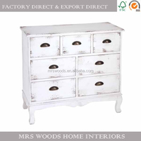 french country style vintage antique distressed living room furniture white painted wooden cabinets with drawers