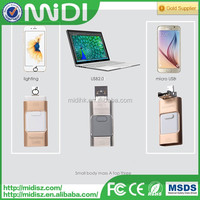 Newest product 3 in 1 OTG USB drive bulk metal usb flash memory for iPhone for Android and computer