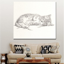 Animal Series Sleeping Cat Picture Sketch Style Canvas Painting Decor Art Wall Hanging Painting On Canvas