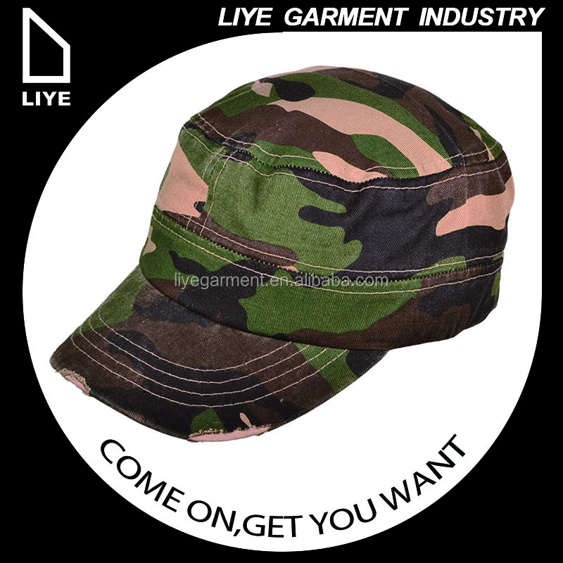 China Liye professional manufacturer high quality khaki and navy cotton twill camo military caps hats