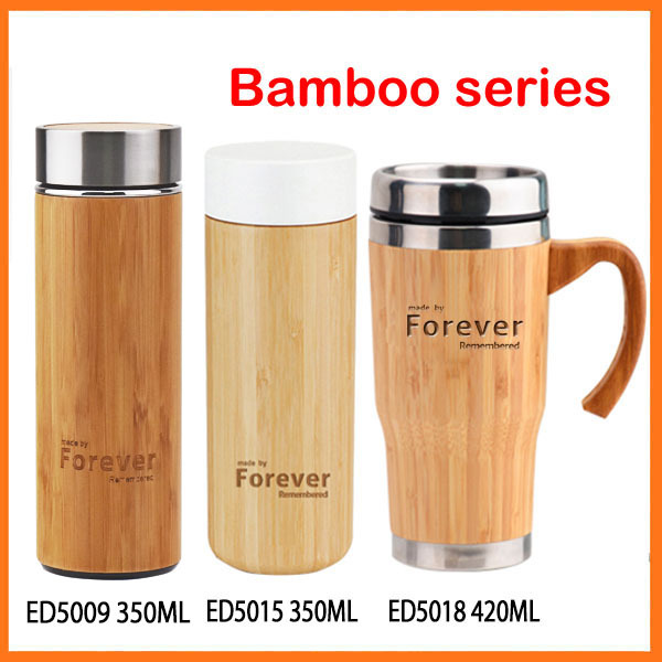 2017 BPA free double wall insulated biodegradable thermos cup bamboo
