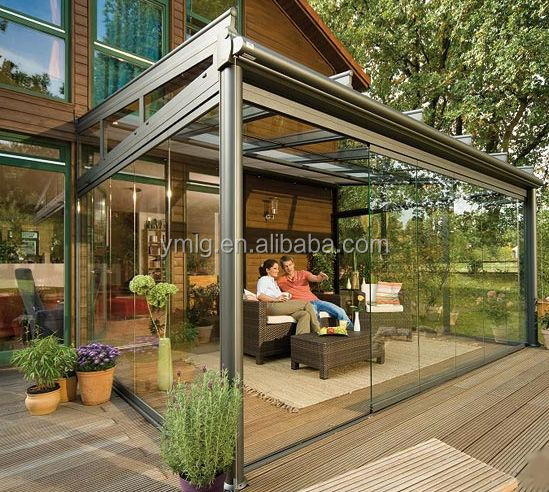 Fashional Style Champagne Color Aluminum Outdoor Glass Sun Rooms