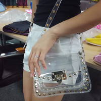Wholesale PVC Material Messenger Bag Rivet Transparent Clear Clutch Cross body Bag Summer Beach Shoulder Bag DOM109815