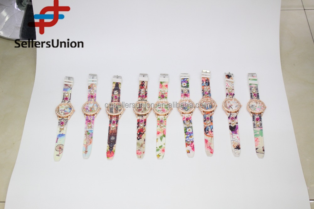 No.1 yiwu exporting commission agent wanted Fashion crystal printed watches silicone cheap for women