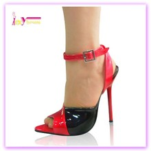 Hot sale pu leather new models ladies pencil high heel red&black upper shoes cheap price women sandals