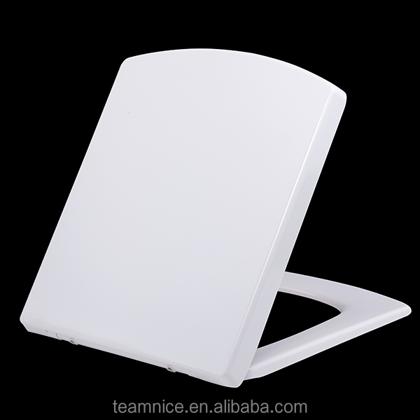 Square asiento del bano hands free UF Duroplast soft close bottom fixed toilet seat cover