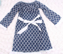 Bulk Wholesale Teen Girls Quatrefoil Casual Wear Dress With Sash Baby Long Sleeve Winter Dress