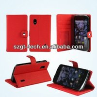Wallet leather case for Nexus 4 E960 case