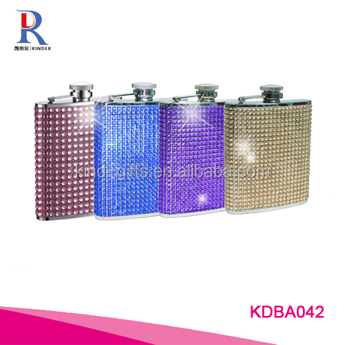Stainless Steel Rhinestone Flask, 8-Ounce