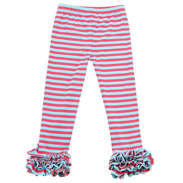 Wholesale 2016 Popular Design Toddlers Leggings Icing Pants Coral/Aqua Striped Ruffle Pants For Girls