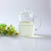 Lead free commercial advertising cup handmade high quality clear coffee eco drinking mug double wall glass tea tumbler with lid