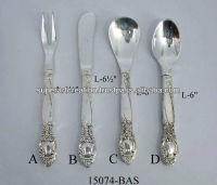 Brass Silver Plated Cutlery set of 4 pcs