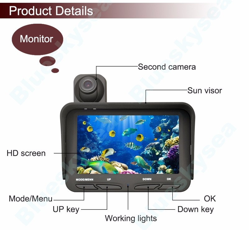"20m 4.3"" LCD Monitor Underwater Ice/Sea Fishing Dual Camera IR LED Night Vision Video Recording DVR"